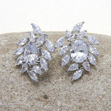 Cubic Zirconia Crystal Diamante Bridal Vintage Stud Wedding Earrings