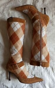 Escada Womens Vintage Pointed Toe Argyle Pattern Boots Size 40