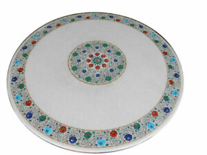 """48"""" Marble Dining Table Top Inlay Rare Semi Round Center Coffee Table AR0695"""