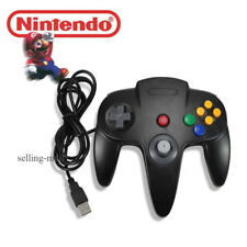 Retro N64 Bit Nintendo 64 USB Wired Controller Black Gamepad for PC and MAC