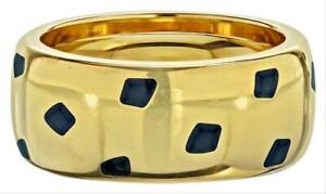 Cartier Gold Black Lacquer 18 Karat Yellow Panthere Ring Size: 7
