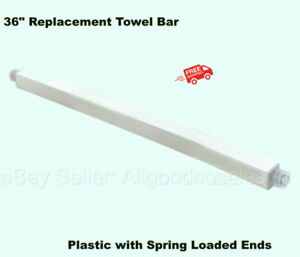 """36"""" REPLACEMENT TOWEL BAR Cut to Fit Plastic Spring Loaded Ends Bathroom Rack"""