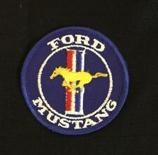 "Ford Mustang Car Golden Horse Red White and Blue Embroidered Cloth Patch 3"" Dia."