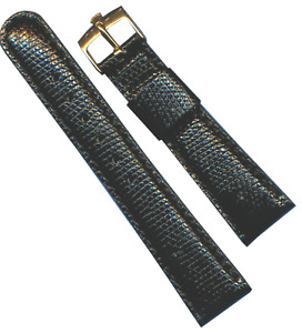 19mm Black Genuine Lizard MB Strap Band Leather Lined & Rolex Gold Plate Buckle