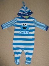 NWT Sesame Street Cookie Monster Boys Romper Jumpsuit Coverall with Hat Size 0