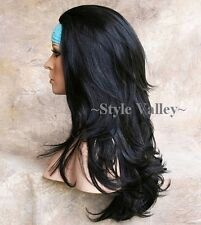 GORGEOUS! Long Black Wavy 3/4 Fall Hair Piece Long layered Half wig Hairpiece #1