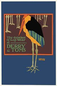 The Daintiest Leg-Wear at Derry and Toms 1920 vintage  advertising poster repro