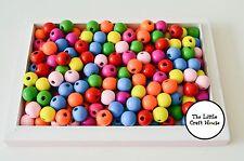 175 X 10mm Coloured Round Wood Beads Random Mix Wooden Bead Teachers Resource