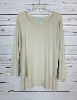 She + Sky Stitch Fix Women's L Large Beige Long Sleeve Spring Cute Tunic Top