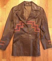 Vintage Leather Boho Jacket 1970s Groovy Geometric Pattern Hippie  Disco S