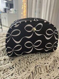 Kate Spade Jae Elegant Bow Small Dome Travel Size Cosmetic Case  Black w White