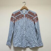 Sundance Embroidered Button Down Shirt Top M Blue White Striped Crinkle Wrinkled