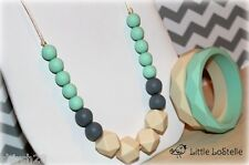 Silicone Baby Teether Teething Necklace Jewelry Mint Green Gray Beige & Bracelet