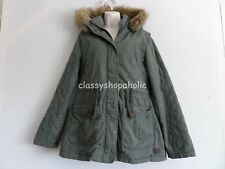 Fat Face Khaki Parka with Detachable Hood & Fur - Size 12  - Tried On Never Worn