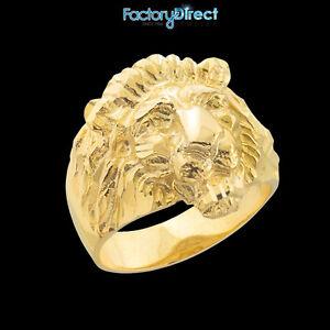 Large Men's Gold Lion Head Ring 10k 14k