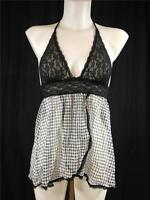 FAMOUS CATALOG NEW MESH / LACE  HALTER SLIP BABYDOLL  SZ SMALL