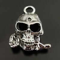 37670 Antiqued Silver Tone Vintage Punk Death Skull Head Rose Pendant Charm 24PC