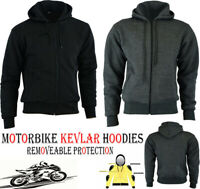 MENS FLEECE HOODIE WITH KEVLAR REMOVABLE CE ARMOUR MOTORBIKE / MOTORCYCLE JACKET