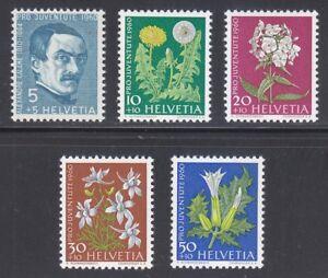 Switzerland 1960 MNH Mi 722-726 Sc B298-B302 Flowers.Alexandre Calame,painter **
