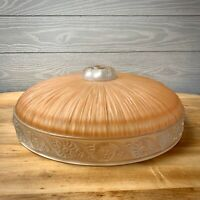 Vintage Art Deco Glass Ribbed Pattern Light Fixture Dome Cover Shade Peach