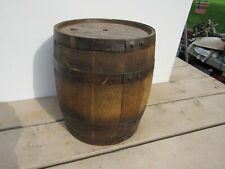 Vintage Primitive Oak Wood Barrel Heavy Metal Strap Keg