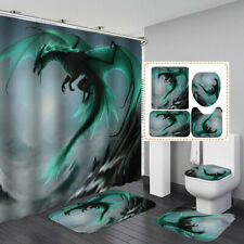 Blue Flying Dragon Shower Curtain Bath Mat Toilet Cover Rug Bathroom Decor