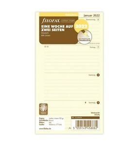 filofax Kalendereinlage 2022 PERSONAL cotton cream  1 Woche / 2 Seiten  22-68458