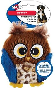 """Spot Ethical 3"""" Plush Owl Hoots Hoot small Dog Toy Play Toss Fetch squeaker blue"""