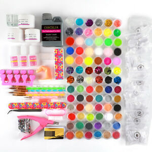 Full DIY Acrylic Nail Art Kit Acrylic Glitter Powder Liquid Tips Practice Tool