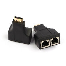 New listing New Hdmi To Dual Port Rj45 Network Cable Extender Over by Cat 5e/6 1080p # Black