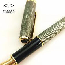 Parker Sonnet Fountain Pen Plaid Silver Color Pen Gold Clip F Nib With Box