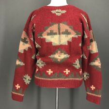 Christmas Sweater M Mens Vtg 1989 EDDIE BAUER Red Green Southwest 100% Wool