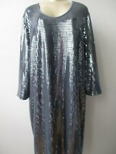 SLINKY BRAND GRAY SEQUIN EMBELLISHED 3/4 SLEEVE EVENING DRESS SIZE L - NWT