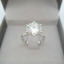 4.50 CT ROUND D/VS1 CLARITY ENHANCED REAL DIAMOND SOLITAIRE RING PLATINUM