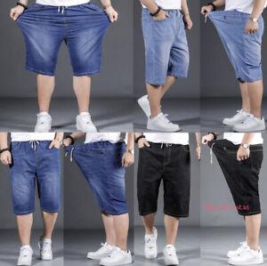 Mens Casual Jeans Shorts Denim Cargo Half Pant Stretch Pant Plus Size 2XL-7XL