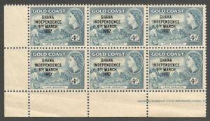 AOP Gold Coast 1957 Independence 4d MNH block of 6 SG 27 £24