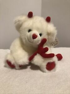 "Russ Stuffed Animal Dog 10"" Valentine Devil Plush 68401 Soft Red White"