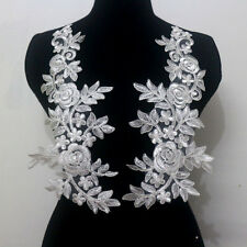 Mirror Pair Off White Embroidered Corded Lace Appliques Trim Motifs Sew On