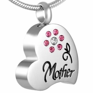 Cremation Memorial keepsake, Mother heart Pendant and Necklace for Ashes.