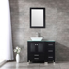 "New 36"" Bathroom Vanity Ceramic Vessel Sink Bowl Wood Cabinet w/ Mirror Set"