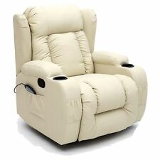 CAESAR CREAM WINGED LEATHER RECLINER CHAIR ROCKING MASSAGE SWIVEL HEATED GAMING
