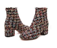 New Fashion Women Tweed Frayed Ankle Boots Thick Chunky Heel