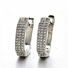 HUCHE Sparkling Silver Front Paved Diamond Crystal Women Lady Hoop Earrings Stud