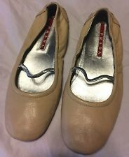 Prada Sport Mary Jane Stretch Ballet Flats Elastic Nude Loafers size 37 US 6.5