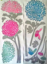 CHRYSANTHEMUMS pink & blue flower wall stickers 14 decal garden stems mums decor