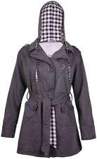 Button Cotton Check Plus Size Coats & Jackets for Women