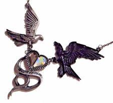 RAVEN & DOVE NECKLACE crow bird wing salvation heart statement bib necklace 4H