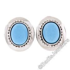 14k White Gold Oval Robin Egg Turquoise Button Omega Earrings w/ Beading Work
