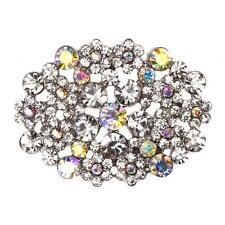 EMILY Diamante Silver Shoe Clips AB Aurora Borealis Crystals Bridal Rhinestone