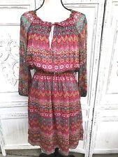 DIANE VON FURSTENBERG Size 8 Silk Blouson Paisley Floral Parry Dress Pink Blue